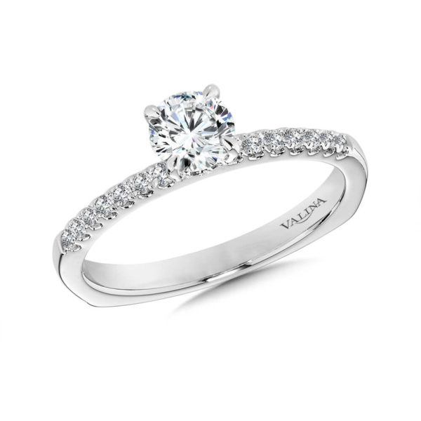 14K White Gold 0.13ct Diamond Engagement Ring
