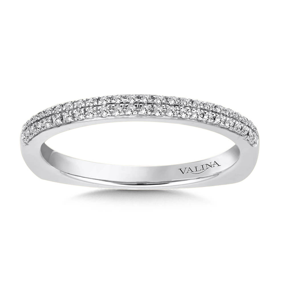 14K White Gold 0.12ct Diamond Wedding Band