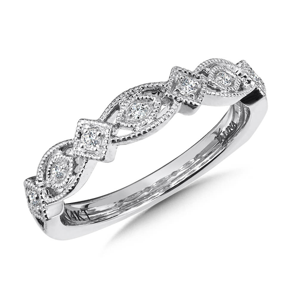 14K White Gold 0.10ct Diamond Wedding Band