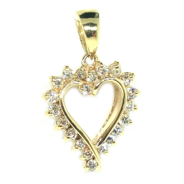 14K Yellow Gold 0.38ct Diamond Heart Pendant